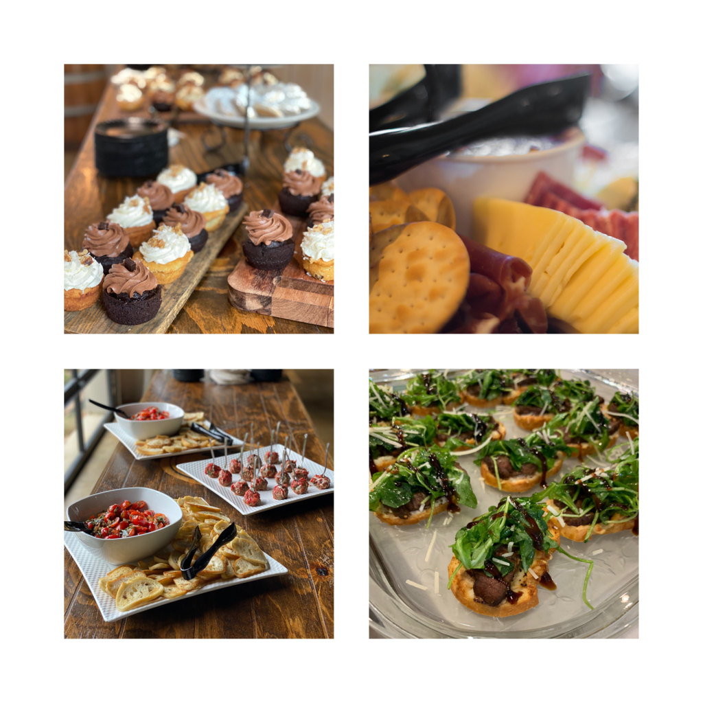 Images of cupcakes, charcuterie, and bruschetta